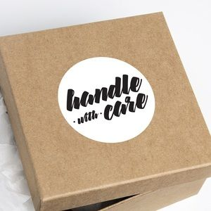 Handle With Care Round Package Shipping Stickers